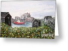 Red Boat In Peggys Cove Nova Scotia  Greeting Card