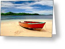 Red Boat On Beach Greeting Card