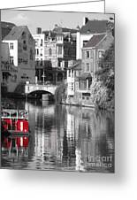 Red Boat On Water Greeting Card
