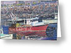Red Boat Reflections Greeting Card