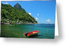 Red Boat- St Lucia Greeting Card