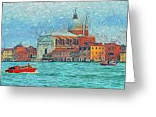Red Boat Venice Greeting Card