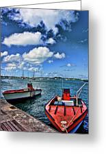 Red Boats At Blue Pier Greeting Card