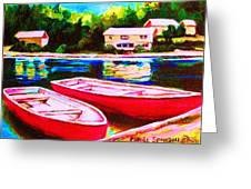 Red Boats At The Lake Greeting Card
