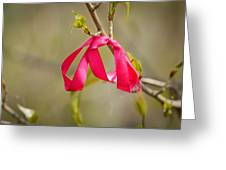 Red Bow In A Tree Greeting Card