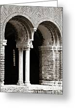 Red Brick Arches Black White Greeting Card