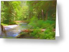 Red Bridge In Green Forest Greeting Card