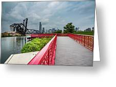 Red Bridge To Chicago Greeting Card