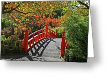 Red Bridge With Shadows Greeting Card