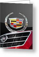 Red Cadillac C T S - Front Grill Ornament And 3d Badge On Black Greeting Card