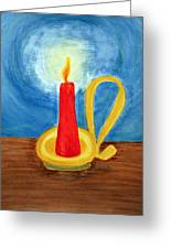 Red Candle Lighting Up The Dark Blue Night. Greeting Card