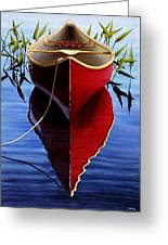 Red Canoe In Pickerel Weeds Greeting Card
