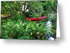 Red Canoe In The Adk Greeting Card