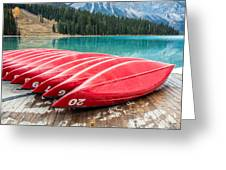 Red Canoes Of Emerald Lake Greeting Card