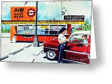 Red Car At The A And W Greeting Card