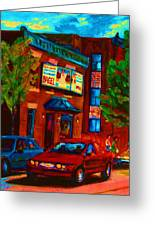 Red Car Blue Sky Greeting Card