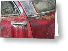 Red Car Door Handle Greeting Card