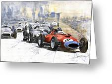 1957 Red Car Ferrari 801 German Gp 1957  Greeting Card