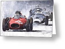 Red Car Ferrari D426 1958 Monza Phill Hill Greeting Card