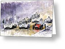 Red Car Maserati 250 France Gp Greeting Card by Yuriy  Shevchuk