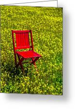 Red Chair Amoung Wildflowers Greeting Card