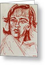 Red Charcoal Sketch 6481 Greeting Card