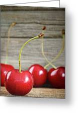 Red Cherries On Barn Wood Greeting Card
