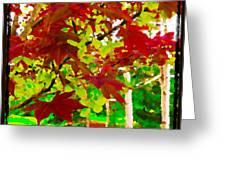 Red Chinese Maple Leaf's Greeting Card