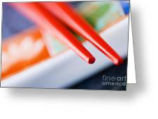 Red Chopsticks Greeting Card