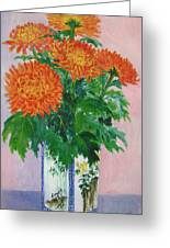 Red Chrysanthemums Greeting Card