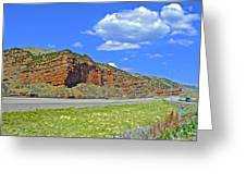 Red Cliffs And White Clouds Over Interstate 80 Rest Stop In Utah  Greeting Card