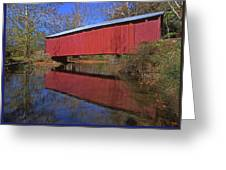 Red Covered Bridge And Reflection Greeting Card