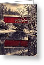 Red Covered Bridge In Winter Greeting Card