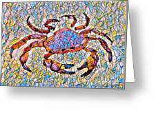 Red Crab Stained Glass Greeting Card