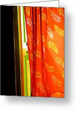 Red Curtain In The Doorway Greeting Card