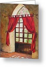 Red Curtain Greeting Card