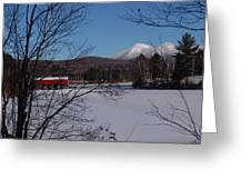 Red Dam And Percy Peaks In Winter Greeting Card