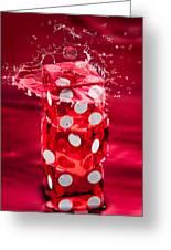 Red Dice Splash Greeting Card by Steve Gadomski
