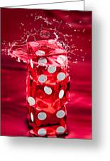 Red Dice Splash Greeting Card
