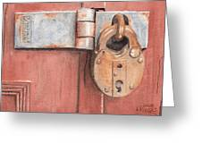 Red Door And Old Lock Greeting Card