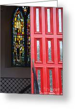 Red Door At Church In Front Of Stained Glass Greeting Card
