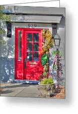 Red Door At Night -- Sailor's Delight Greeting Card