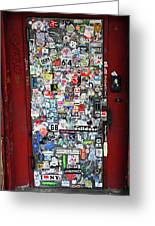 Red Doorway With Stickers Greeting Card