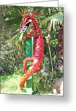 Red Dragon On Post Greeting Card