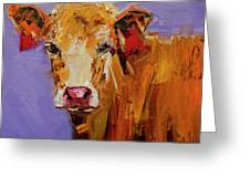 Red Earring Cow Greeting Card