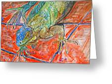 Red Eyed Iguana Greeting Card