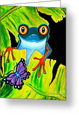 Red Eyed Tree Frog And Purple Butterfly Greeting Card