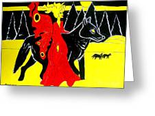 Red Faerie And Black Wolf With Yellow Moon Greeting Card