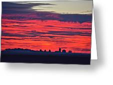 Red Farm Sunrise Greeting Card