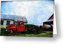 Red Farm Truck Greeting Card